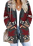 Dokotoo Womens Plus Size Winter Warm Open Front Long Sleeve Aztec Print Cardigans Sweaters Soft Knitted Coats Outerwear Casual Cardigans Jackets with Pockets Gray 2XL