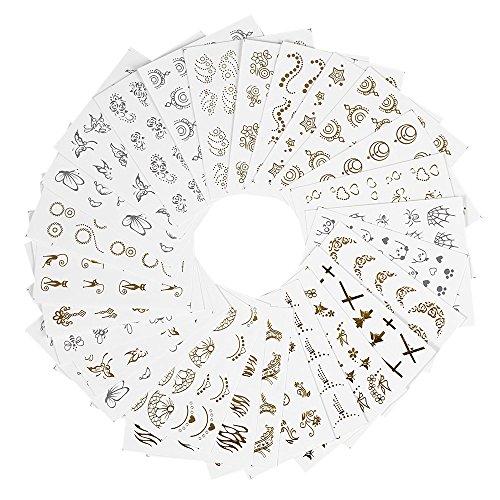 Anself 30 Blätter 3D Gold/Silber Designs Nail Sticker Wassertransfer Nagel Decals Nail Paper Tip