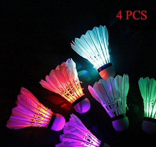 LED Badminton Set Shuttlecock Dark Night Glow Birdies Lighting for Outdoor/Indoor Sports Activities Colorful