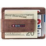 Alpine Swiss Harper Mens RFID Slim Front Pocket Wallet Magnetic Money Clip ID Card Holder Leather Distressed Brown