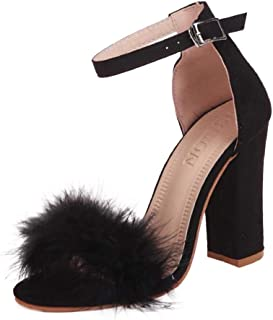 Women Open Toe High Heel Sandals, Ladies Solid Block Square Heel Strappy Platforms Party Shoes Slipper