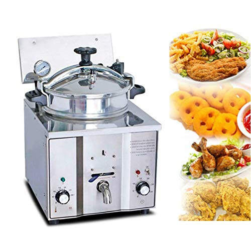 Amazing Deal Countertop Pressure Fryer, Enshey Commercial Electric 16L Stainless Pressure Fryer Cooking Chicken Fish Professional Restaurant Hotel Leisure Snack Tabletop Deep Fryer Kitchen Frying Machine 2400W
