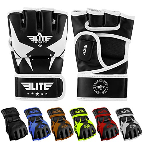 Elite Sports MMA UFC Gloves for Men, Women, and Kids, Best Mixed Martial Arts Sparring Training Grappling Fighting Gloves (White/Black, Medium)