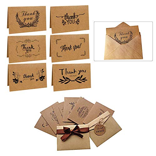 Thank You Cards Multipack, Delleu 6 Pack Kraft Paper Thank You Cards Thank U Greeting Card 6 Kraft Paper Envelopes for Wedding, Graduation, Brown