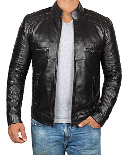 Decrum Slim Fit Black Leather Jacket for Men | [1100074] Black Austin, L