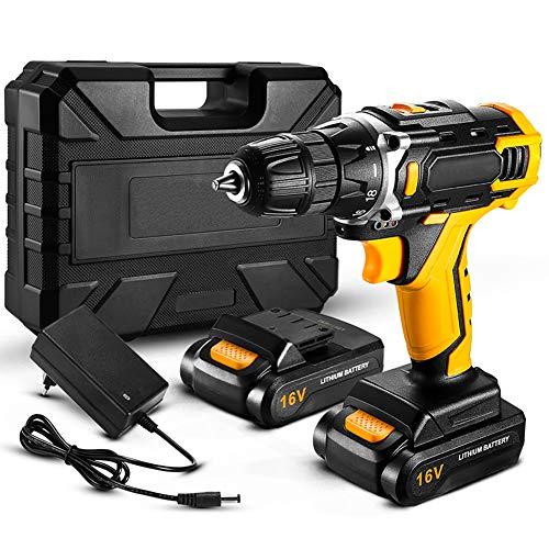 KOWE Atornillador Electrico 16 V, 13 Piezas Juego De Destornilladores Eléctricos (2 Baterías, Par Máximo De 32 NM, 2 Velocidades, Portabrocas Automático De 10 Mm)