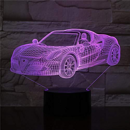 jiwenhua Lampada da Tavolo 3D A LED per Auto Sportive da Notte A Forma di Crepa Colorata, Trasformabile A 6, con Base di Allarme