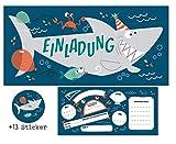 CardWheels 12 Einladungskarten Hai + 13 Aufkleber Gratis - Jungen Mädchen | Party Mitgebsel Karten...