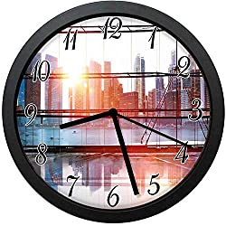 YiiHaanBuy Modern City View with Skyscrapers Vibrant Sunset River Empty Place- Unique Decorative Wall Clock, Silent Quartz Movement - 12inch