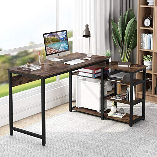 Tribesigns L-Shaped Desk with Bookshelf, Industrial 54' Corner Computer Office Desk with Storage for Home Office (Rustic)