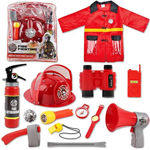 deAO Set de Costume de Pompier avec 13 Accessoires, Un Sac de Rangement et Un extincteur de feu à...