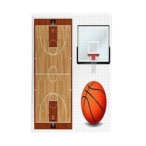 Impresión UV educativa, tablero de baloncesto e ilustración de aro realista con temática deportiva, incluye 1000 piezas de madera para todas las edades