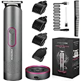 PRITECH Hair Trimmer for Women, kids, and men, Rechargeable Hair Clippers and Trimmer, Home Hair Cut Kit, Cordless Barber Grooming Sets, Waterproof Bikini Trimmer, Aurora Gray