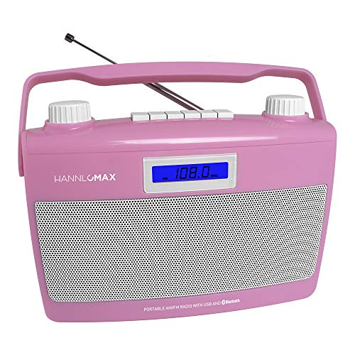 HANNLOMAX HX-500R Portable AM/FM Radio, Bluetooth, USB Port for MP3 Playback, Aux-in, AC/DC Dual Power Source. (Pink)