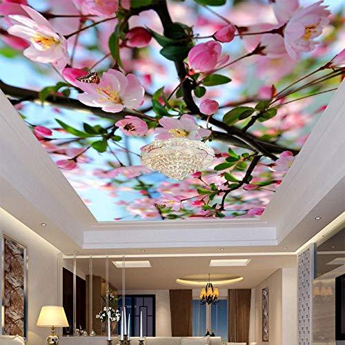 Shuangklei Aangepaste muurschildering Fotobehang 3D Stereoscopische Perzik Bloesem Zenith Plafond Mural 3D Woonkamer Wandpapier Moderne Home Decoratie 400 x 280 cm.