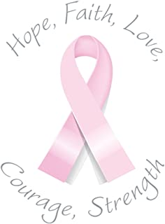Hope, Faith, Love, Courage, Strength Breast Cancer Ribbon Labels / Stickers 20 Round Labels Per Sheet, 1 Sheet Per Pack