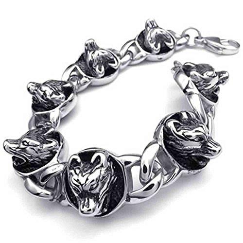AnaZoz Fashion Sieraden Eenvoudige Persoonlijkheid RVS Armband Zwarte Biker Bedels Gotische Wolf Retro Silvery Heren Sieraden Breedte 17mm Lengte 22cm