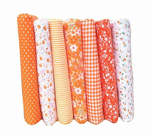 7Tressen Twill Baumwolle Stoff für Schnittmuster Patchwork Fat Quarters Tissue Quilt DIY Mustertuch Tuch 50cm x 50cm (orange)