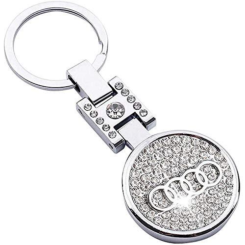 AutoDIY Audi car Keychain Car Logo Key Ring 3D Metal Emblem Pendant Double Side Zircon Crystal Decoration Lanyard Keychains accessories for Gifts (Audi)