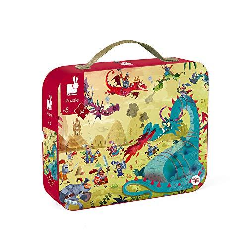 Janod - Puzzle con maleta redonda, Dragones, 54 piezas (J02763)