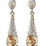 Yazilind 18K Gold Plated Women Vogue Tear Drop Champagne Cubic Zirconia Rhinestone Dangel Earrings Gift