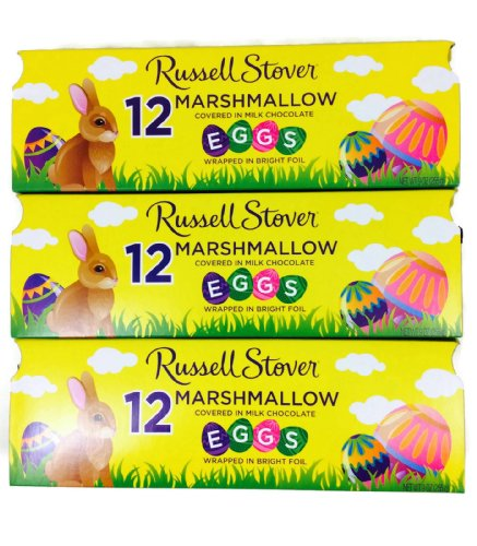 Russell Stover Marshmallow Egg Crate, 9 oz crate, 12 Easter Eggs, (Pack of 3 Crates) from Russell Stover