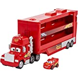 Disney Pixar Cars Camion Transporteur Mack pour transporter jusqu'à 18 mini-véhicules, mini voiture Flash McQueen incluse, jouet pour enfant, GNW34