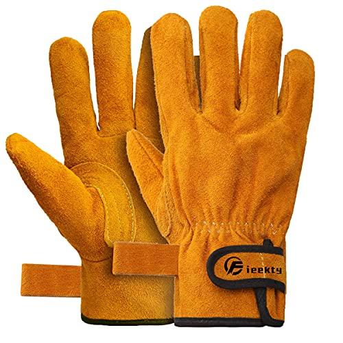 耐熱 手袋 牛革 グローブ キャンプ BBQ アウトドア用 作業革手袋 柔らかい 耐切創 使いやすさ 耐刃グローブ 裏付き吸汗 高温耐性