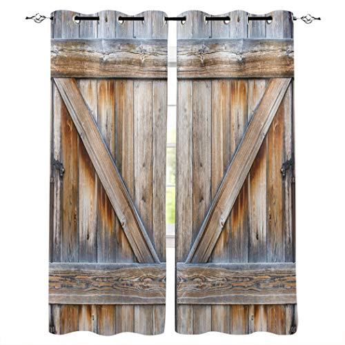 Window Treatments Curtains Room Window Panel Set for Living/Dining/Bedroom, Rustic Old Wooden Barn Door 52 by 72 Inch, 2 Panels