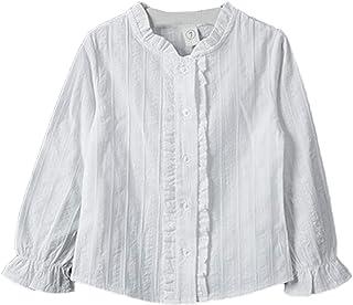 Snone子供服 ブラウス 女児ブラウス 白ブラウス 無地 長袖 可愛い