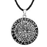 Viking Jewelry - Collar con colgante de plata envejecida Vegvisir con colgante de rúnica y brújula vikinga