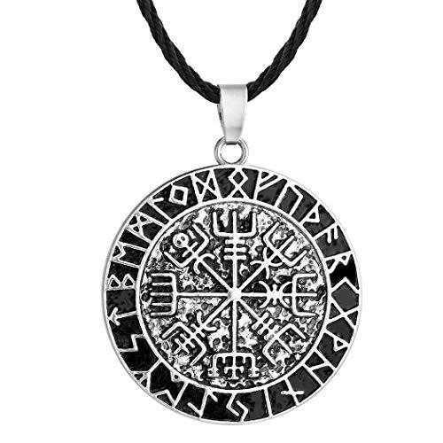 Viking Jewelry - Collar con colgante de plata envejecida, diseño de brújula vikinga, para hombre