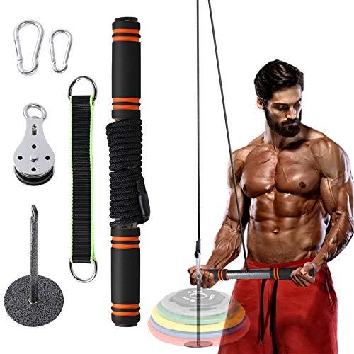 FOOING Kabelzug Fitness, Unterarmtrainer Latzug Arm-Krafttraining Trizeps Trainingsgeräte Gewichte Trainer für Gym zubehör zuhause DIY Fitnessgeräte (220 Pfund)