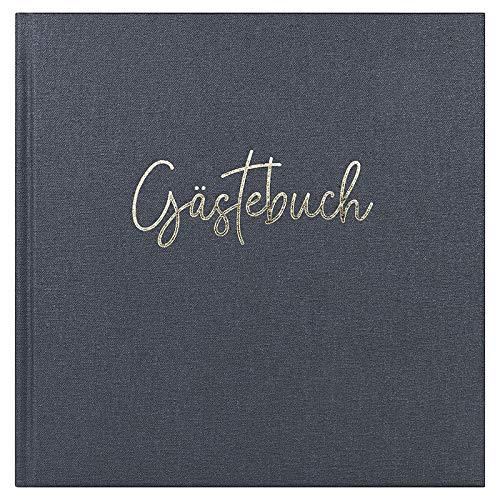 DeinWeddingshop Gästebuch, Premium Buchbinder-Leinen mit Prägung für Hochzeit, Geburtstag, Taufe,...
