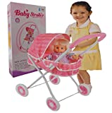 Allkindathings  Kid girls Pink Buggy Pram 4x Wheeler Pushchair doll Stroller Childrens with Doll