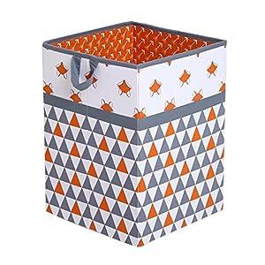 Bacati Playful Foxs Hamper, Orange/Grey