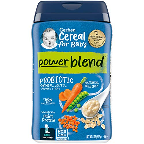 Gerber Powerblend Cereal for Baby - Oatmeal Lentil Carrot Pea Probiotic, 6Count