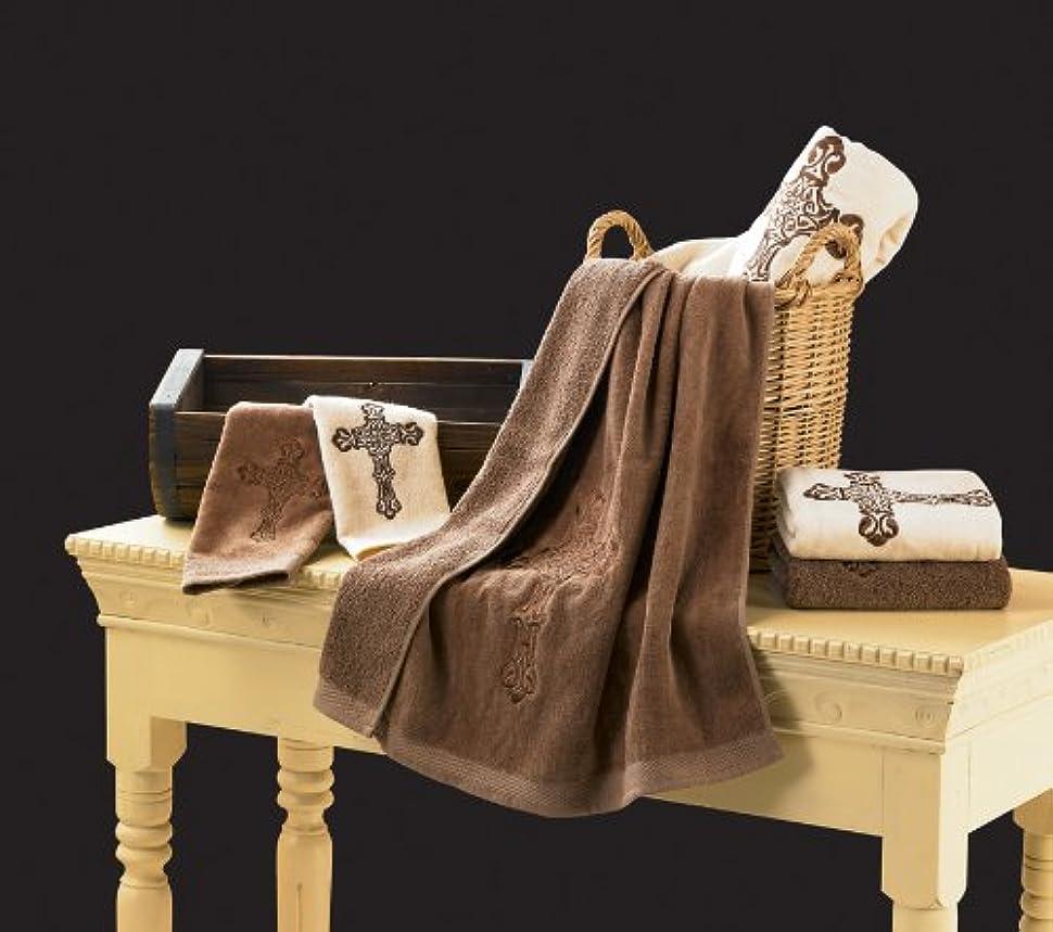分散明示的にご覧くださいHiEnd Accents Embroidered Cross Towel Set, Cream
