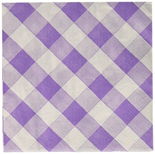 Sophistiplate Purple Lilac Gingham Paper Napkins - 60pk for Holidays Parties Showers Special Entertaining!