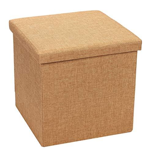 Bonlife Pouf Hocker Polster Sitzhocker Mit Stauraum Faltbox mit Deckel Belastbar Leinen Truhe Aufbewahrungsbox Kisten,Gelb,40x40.5x38.5cm