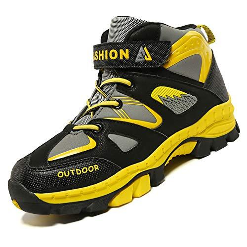 Unitysow Zapatos de Niños Zapatillas de Senderismo Botas de Montaña Impermeables Deportiva al Aire Libre Senderismo Calzado de Trekking EU31-40,Amarillo,EU35