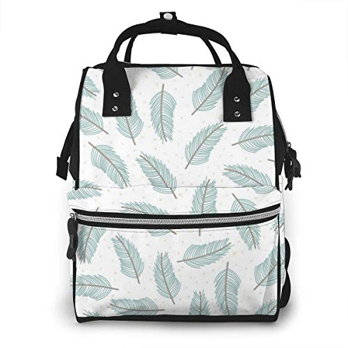 UUwant Sac à Dos à Couches pour Maman Large Capacity Diaper Backpack Travel Manager Baby Care Replacement Bag Nappy Bags Mummy Backpack,(Light Green Feathers One After Another