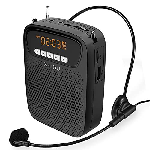 Amplificador de voz portátil microfone com fio fone de ouvido alto-falante 15 watts recarregável mini amplificador de voz Bluetooth para professores sistema pessoal Megaphone Fm para sala de aula