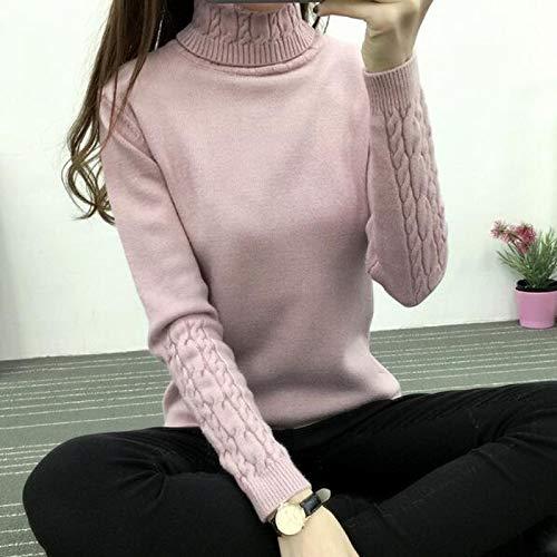 Moda Sudaderas Jersey Sweater Suéter De Cuello Alto para Mujer, Suéteres Y Jerséis De Punto De Manga Larga para Mujer, Jersey para Mujer, Camisetas De Tricot L Rosa