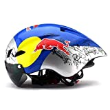 Yppss Casco da Bicicletta Mountain Bike Occhiali di Protezione della Bicicletta Mountain Bike Casco Casco Pneumatico Bicicletta Che cicla Eternal (Color : Red Bull Color, Size : One Size)