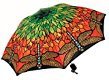 Dragonfly Stained Glass Style Folding Compact Fashion Umbrella