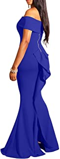 LAGSHIAN Women Elegant Back Ruffles Sexy Off Shoulder Gown Maxi Evening Party Mermaid Dress