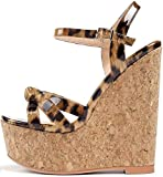 YODEKS Women's High Heel Sandals Peep Toe Platform Mary Jane Fashion Summer Dress Leopard Sandals 7 M US