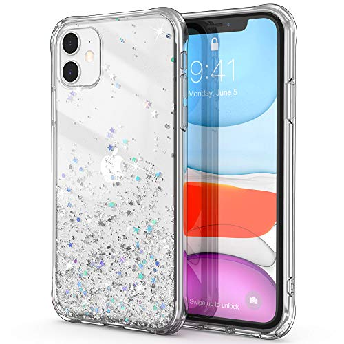 ULAK iPhone 11 Hülle, Sparkle Sterne Muster Clear Glitter Hard TPU Stoßfest Handyhülle Durchsichtig Bling Frauen Mädchen Schutzhülle Lover Hülle Cover für iPhone 11 6,1 Zoll - Transparent Glitzer