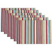 """DII 100% Polyester Placemat, Reversable & Spill Proof for Indoor or Outdoor Use, Perfect for BBQs, Backyard Parties, Cookouts, & Family Gatherings (13x19"""" - Set of 6) Warm Summer Stripe"""